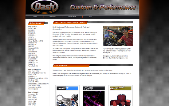 Motorcycle accessories online store redesign